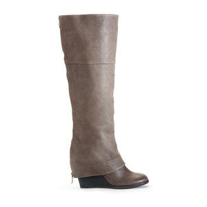 Vince Camuto Brown Leather Peddled Abril Boots
